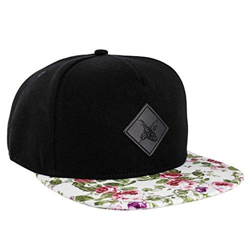 Phoenix Snow Snapback Cap Schwarz Weiß Unisex Baseball Mütze Rosen Blumen Floral (Floral Cap)