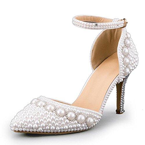 Pumps weiß Perlen Hochzeit High Heels Schuhe Brautschuhe Braut Damenschuhe (38 (wie 37)) (Heels Perlen Hochzeit)