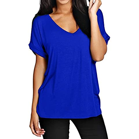 MMT Woman Adjustment Baggy V-neck Reverse Oversized Sleeve Top Size 8 - 26 (M/L(40-42), BLEU ROYAL)