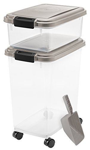 IRIS 3- Piece Airtight Pet Food Storage Container Combo, Chrome