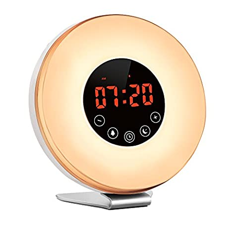 Alarm Clock,Witmoving Wake Up Light Bedside Sunrise Simulator with Brightness Automatic Adjustment, Nature Sounds ,FM Radio,Night Light,Easy Set Up via Touch Control,Powered by Battery or USB