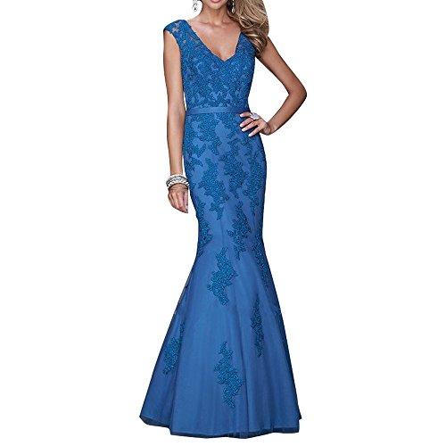 La_mia Braut Festlich Schwarz Spitze V-ausschnitt Abendkleider Ballkleider Abschlussballkleider Lang A-linie Blau