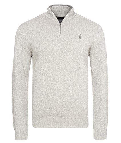 Ralph Lauren Pullover Zipper -Polo Golf- Pima Cotton Custom-Fit (XL, Grau / Grey) (Mit Ralph Reißverschluss Lauren)