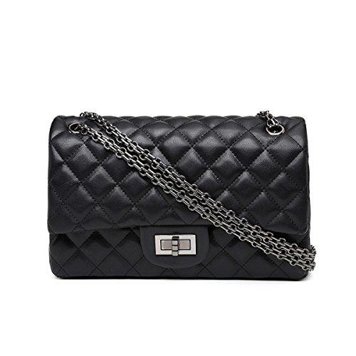 Damen PU Leder Kette Tasche Mode Lingge Gesteppte Tasche Damen Casual Schulter Messenger Cross-Body Taschen,Black-OneSize (Vintage Gesteppte Tasche Schulter)