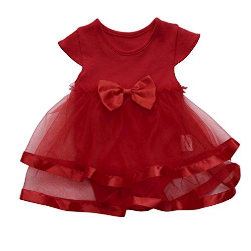 Strampler Neugeborene Mädchen, Baby Mädchen Kleid, OVERMAL Baby Mädchen Set Kleidung Baby Mädchen Sommer Kleidung Baby Bekleidungssets Baby (3 Monate, Rot) (Kind Kleider)