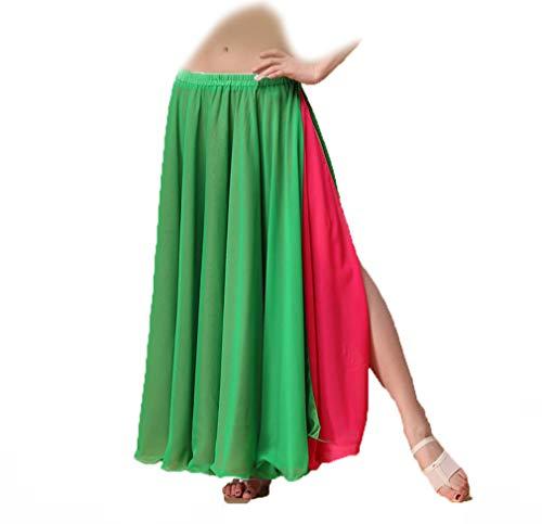 JTIH®Belly Dance Rock unter dem großen Swingrock Belly Dance Kostüm Doppelschlitzrock - elastischer Bund, freie Größe, enthält Nicht den Hüftgurt
