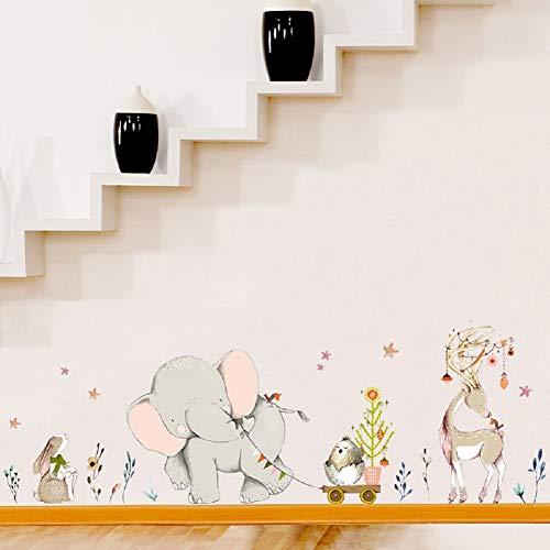 Dibujos Animados Lindos alegres Elefantes Kickline Pegatinas de Pared Wallpaper DIY Vinilo...