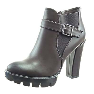 Sopily - Chaussure Mode Bottine chelsea boots Cheville femmes boucle Talon haut bloc 11 CM - Marron - FRF-10-FP002 T 41