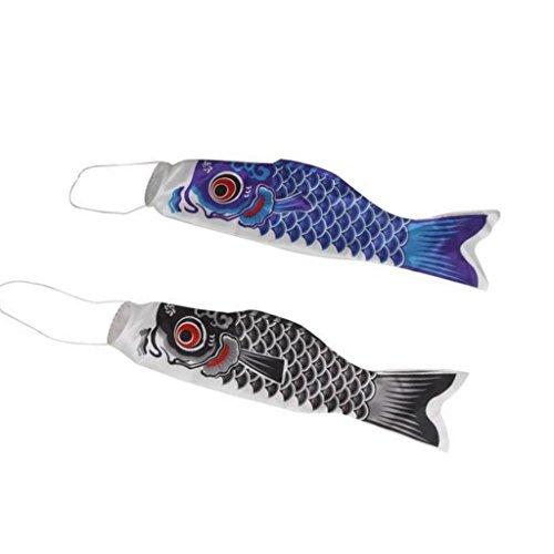 Sharplace 2 piezas de Koinobori Decoración Aire Libre Hogar Bandera Marina perfecta para Barco 70cm Azul + Negro