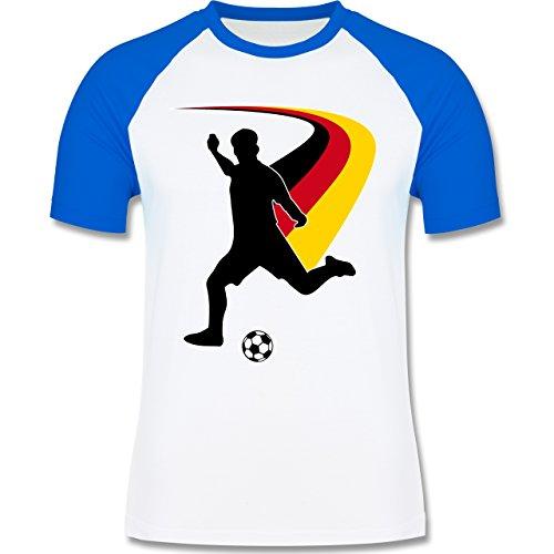 EM 2016 - Frankreich - Fußballspieler + Deutsche Flagge - zweifarbiges Baseballshirt für Männer Weiß/Royalblau