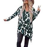 Yvelands Damen Langarm Top T-Shirt Casual Leopard Printed Unregelmäßiger Saum V-Ausschnitt Bluse(CN-S,Grün)