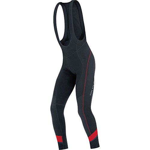 GORE BIKE WEAR, Peto de hombre, Térmico, Ciclismo en carretera, Badana, GORE Selected Fabrics, POWER 3.0 Thermo Bibtights+, Talla XL, Negro/Rojo, WTPOWL
