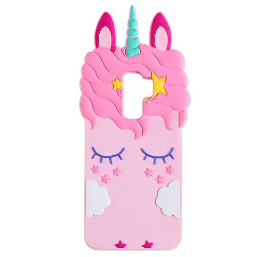 Liangxuer - Custodia per Samsung Galaxy Series, motivo: unicorno, colore: Rosa, silicone Gomma, Samsung Galaxy S9, Samsung Galaxy S9