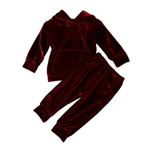 WEXCV Baby Mädchen Jungen Bekleidungssets Langarm mit Kapuze Einfarbig Flanell Top + Lange Hosen 2 StüCk Outfits Herbst und Winter Warm Mode Niedlich 0.5-4 - Mad 3 Stück Kostüm