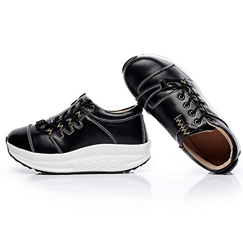 Shenn Femmes Dernières Conception Chic Forme Côté Lacer Plate-forme Cuir Aptitude Sneakers 1062 Noir