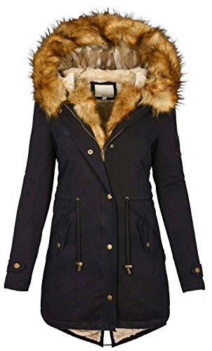 Damen Winter Jacke warme Winterjacke Baumwolle Parka Mantel Buntes Fell B515 [B515-Schwarz-Beige-Gr.M]
