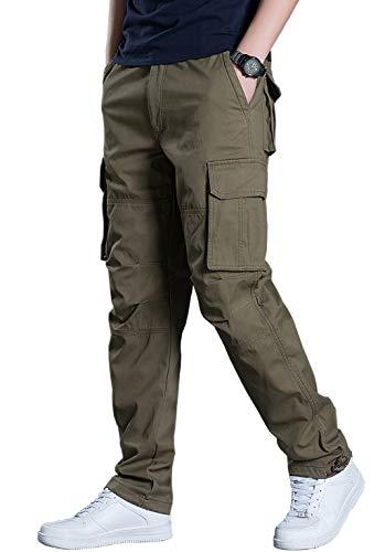 KEFITEVD Herren Freizeit Hose Männer Herbst Outdoor Jagdhose Viele Taschen Casual Wanderhose Trekkinghose Cargo Pants Atmungsaktiv Basic Hose Khakigrün 38 (Etikett: 3XL)