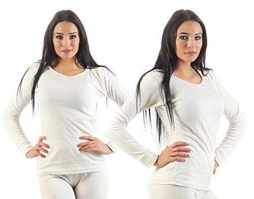 Damen Ski Set Unterwäsche Funktionsunterwäsche innen angeraut 3 Farben wählbar in den Grössen S bis XL 2 Stück Damen Unterhemden wollweiß