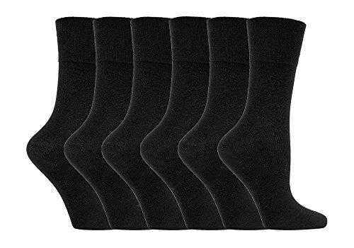 IOMI - 6 pares mujer sin elasticos diabeticos calcetines para la circulacion (37-42 eur, Black LA1)