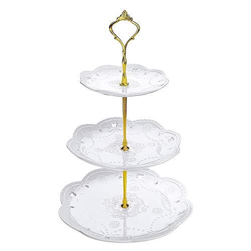 MKYYLV Soporte de Porcelana para Tartas 3 Pisos