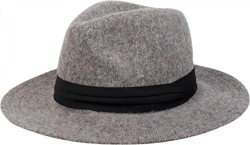styleBREAKER Fedora Knautschhut in Filz-Optik mit Zierband, Bogart, Cowboy Hut, Unisex 04025015, Farbe:Grau (Für Cowboy-hüte Filz Frauen)
