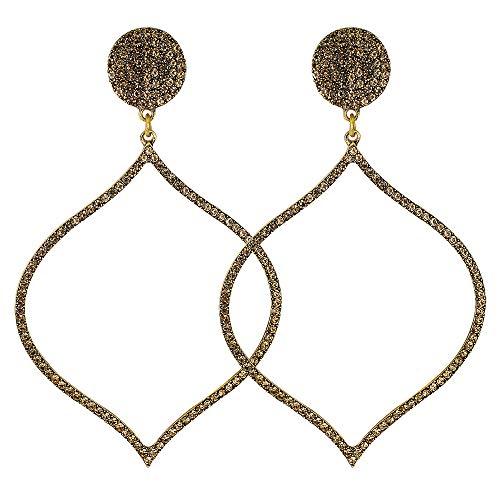 YAZILIND geometrische Form pandent Dangle Anweisung Ohrstecker Vintage Legierung Schmuck für Frauen Kristall Zirkon Ohrring für Hochzeit Abendkleid (Gold)