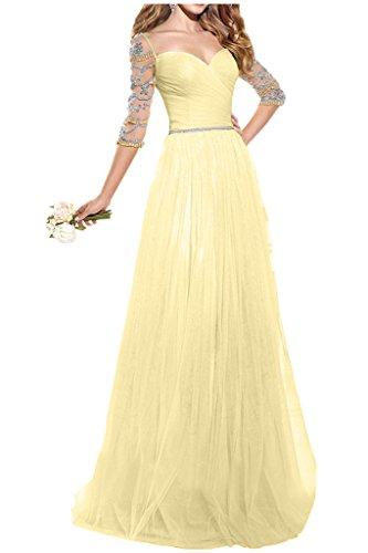 Victory Bridal Rosa Langarm Perlen Damen Abendkleider Ballkleider Partykleider Festlichekleider Lang Gelb