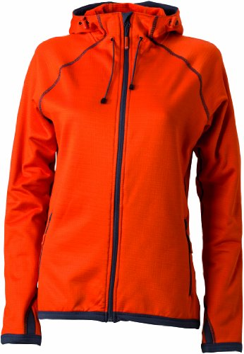 James & Nicholson Damen Jacke Fleecejacke Ladies' Hooded orange (dark-orange/carbon) Small