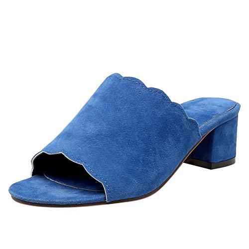 MissSaSa Donna Sandali col Tacco Metà Elegante Ciabatte Blue