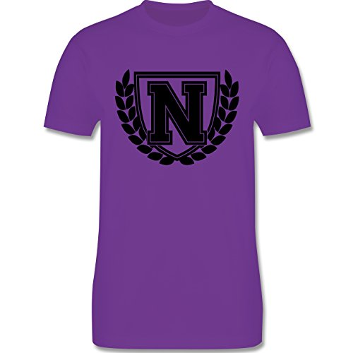 Anfangsbuchstaben - N Collegestyle - Herren Premium T-Shirt Lila
