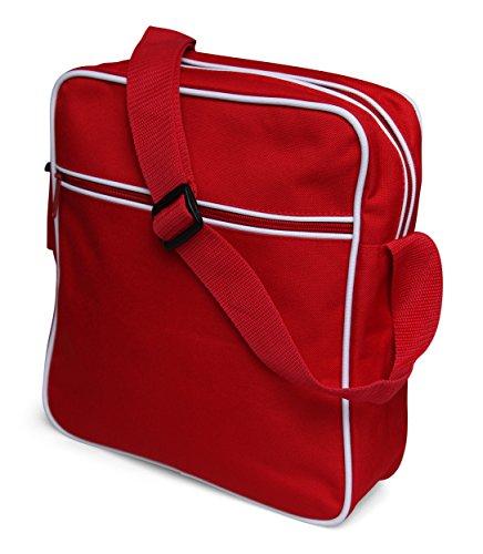 styleBREAKER Retro Umhängetasche im 70er Jahre Flight Bag Design, Unisex 02012006 Modell-2 / Rot