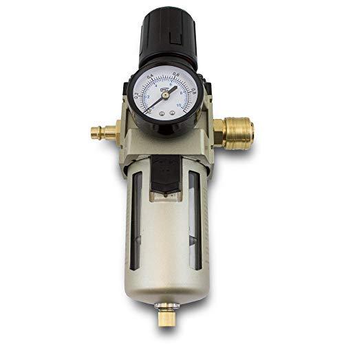 """BITUXX® Druckluft Wartungseinheit 1/2 Druckminderer Wasserabscheider Öler Filter 1/2 Zoll 10 Bar für Kompressoren & Druckluftleitungen inklusive Steckkupplung 1/2\"""""""