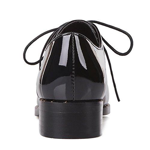 VogueZone009 Donna Allacciare Scarpe A Punta Tacco Basso Tessuto Perla Puro Ballerine Nero