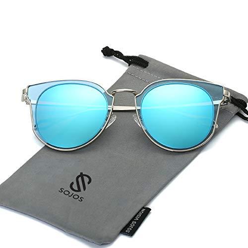 SOJOS Schick Klassische Retro Rund UV Schützen Polarisiert Sonnenbrille für Damen und Herren SJ1057 mit Silber Rahmen/Blau Linse