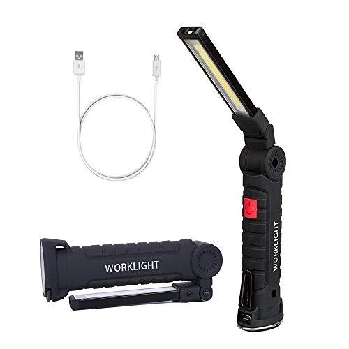 ZYJFP Faltbares Arbeitslicht LED, USB-Aufladbare Taschenlampe, Bewegliches Magnetisches Inspektions-Licht mit Magnetfuß und Haken Für Haus, Werkstatt, Notgebrauch,Big -