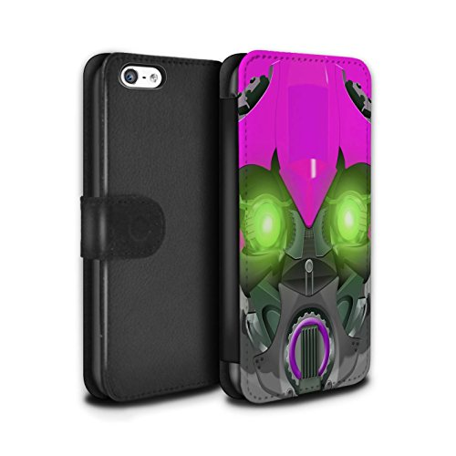 Stuff4 Coque/Etui/Housse Cuir PU Case/Cover pour Apple iPhone 5C / Mega-Bot Jaune Design / Robots Collection Bumble-Bot Violet
