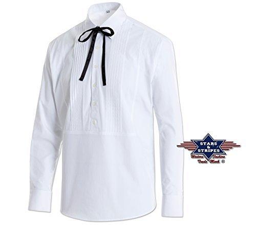 Reduziert - Set: Westernhemd und zwei Westernschleifen von Stars & Stripes - Old Style - Joseph, Weiß, Größe XL (Country Western Kostüm)