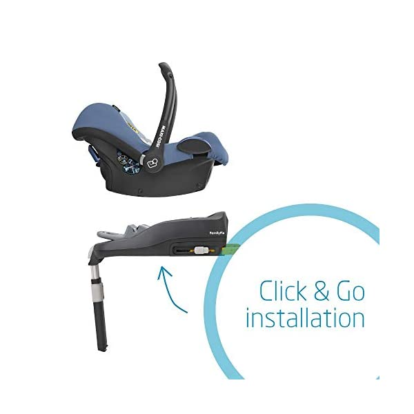 Maxi-Cosi CabrioFix Baby Car Seat Group 0+, ISOFIX, 0-12 Months, Frequency Blue, 0-13 kg Maxi-Cosi Baby car seat, suitable from birth to 13 kg (birth to 12 months) Side protection system for optimal protection against side impact Extra comfortable head support thanks to extra padding 6