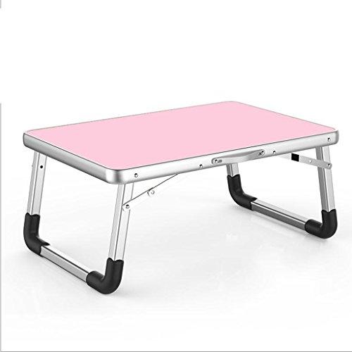 Gfl Laptop-Tabelle Aluminiumlegierungs-zusammenklappbare Bett-Oberen-Gebrauchs-Schlafsaal Lernen kleines Buch-Schreibtisch-Rechteck Computerstand (Farbe : Pink, größe : 70 * 50 * 32cm) - Kaffee-tisch-bücher Pink