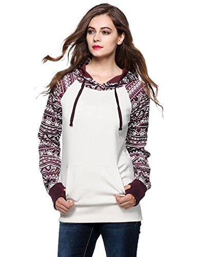 WanYang Felpa Con Cappuccio Maniche Lunghe Stampa Caldo Pullover Sweatshirt Tops Vento Nazionale Autunno Inverno Bianco