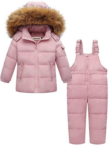 ZOEREA Combinaison de Neige Bébé Fille Garçon Doudoune à Capuche Enfant Ensemble de Ski Manteau de Duvet Hiver Veste Snowsuit 2PCS Rose, Étiquette 110