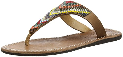 Laidback London 078ss16 Drifter Flat, Sandales ouvertes femme Multicolore - Mehrfarbig (midbrown/tribal II)