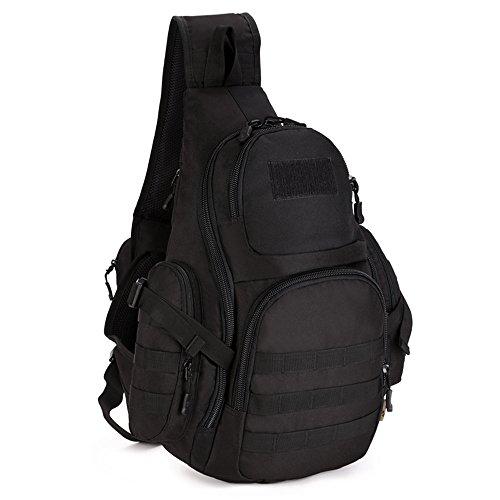 Freedom-vp Damen Herren Military Tactical Umhängetasche Brusttasche Rucksack mit einem Gurt Sling Bags einseitige Rucksack Crossbag Uni Rucksack für Radfahren Wandern Camping Freizeit (Schwarz-1) (Sling-stil-umhängetasche)