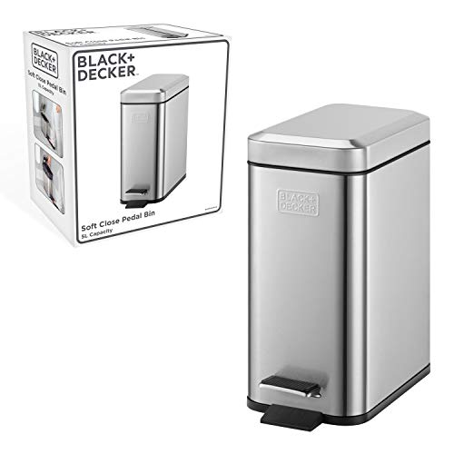 Black+Decker 61089 Cubo de Pedal Rectangular de 5l BXBN0005GB 5L con Tapa de Cierre Suave, Acero Inoxidable...