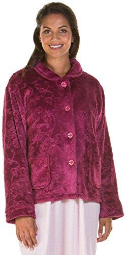 Donne Zip Up Soft Feel pile in rilievo vestaglia, con zip Robe 6623 Dark Rose - Bed Jacket