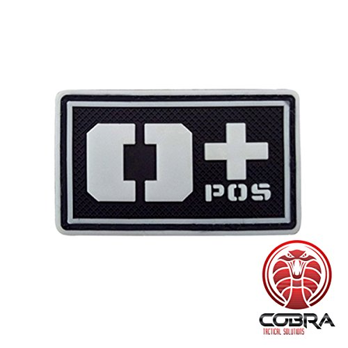 Cobra Tactical Solutions Patch Militare 3D in PVC con tipo sangue O+ POS con velcro per Airsoft/Paintball nero/bianco/Fluo