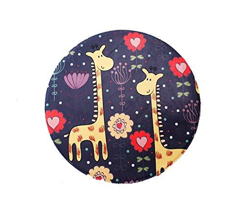 XINHUANG Round Area Rug, Cartoon Animal Runde Kinder Area Rug Yoga-Matte für Wohnzimmer, Schlafzimmer Dekore, Kinderzimmer, Baby Nursery Deer (größe : 100X100XM) (Deer Wolldecke)