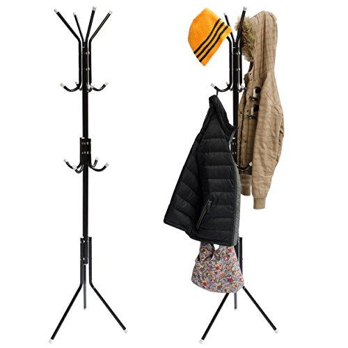 Garderobenständer mit 12 Haken - Schwarz 175 x 38 x 22 cm - Kleiderständer zur Kleideraufbewahrung in Diele Flur Büro