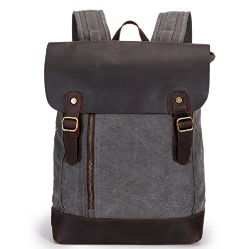 Aidonger Unisex Canvas and Leather Daypacks Laptop Backpack (Grey)