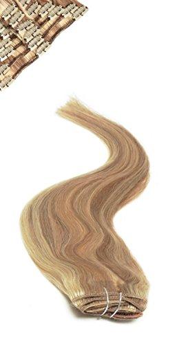 American Pride | Clip im Haar | Menschenhaar -Erweiterungen | Voller Kopf | 18 Zoll | Brownie Blonde Blended-Highlights (Blonde 18-zoll-haar-erweiterungen)